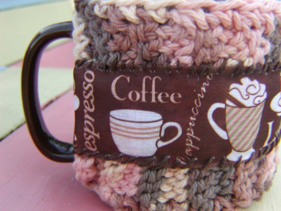 Coffee, Latte, Espresso Crochet Cup Cozy and coffee cup