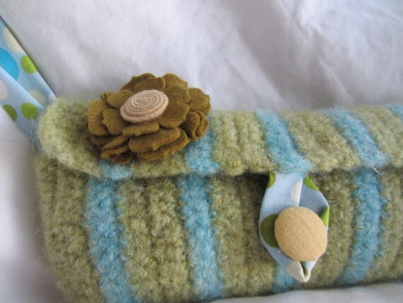 Wristlet handbag- Felted pastel green and blue wool with matching felt flower