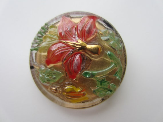 Vintage Buttons - large Czech Glass beautiful tropical flower hand painted , Collector button, very old (1087)