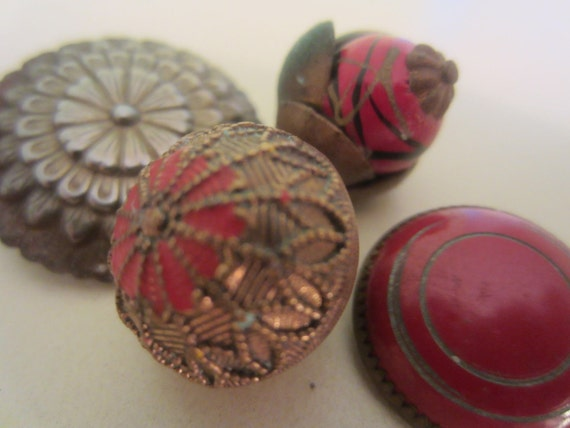 Vintage Buttons - lot of 4 shabby chic  estste sale gold antique metal and red accent,  (no 1049)