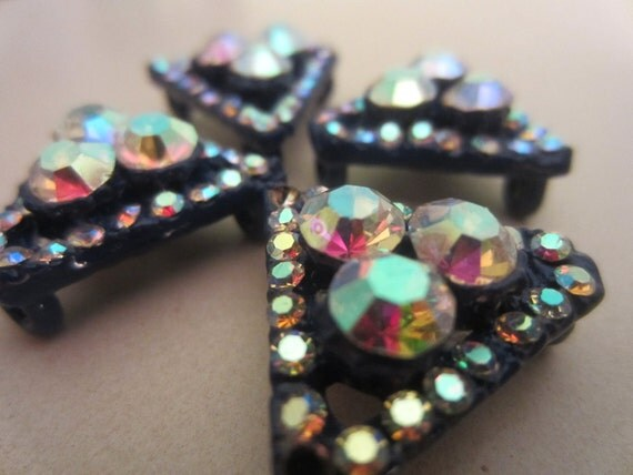 Vintage Buttons - beautiful lot of 4 matching unique triangle rhinestone embellished, dark blue enamel, estate sale buttons (lot1084)