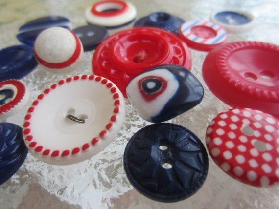 Vintage Buttons - Cottage chic mix of  red, off white and blue, old and sweet - 16 total (1225)
