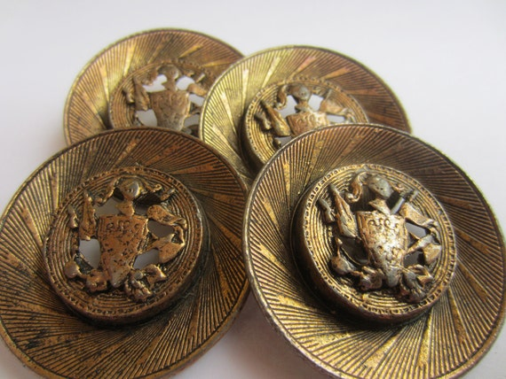 Vintage  Buttons -  Collector, unique and extremely heavy, open work crested, large antique gold metal, very old, 4 matching (lot no 1685.)