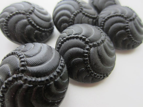 Vintage Buttons -  Czech- matching  pressed black glass raised pattern, lot of 6, hand made in the 1950's (lot no.1708)