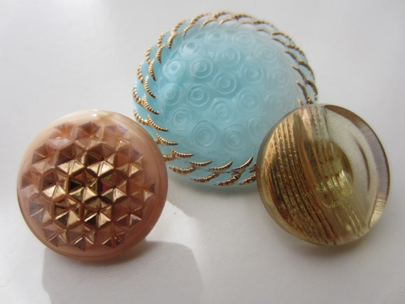 Vintage Buttons Czech glass blue and amber hand painted , assorted  patterns, lot of 3 (lot 1781)