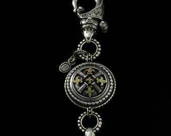 Double Hook Fleur de lis and Column Key Chain, B.C. Silver Collection 6802SG