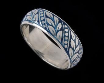 Laurel Leaf Wedding Band, Engraved Collection, Enamel     2504SXXXXXXT