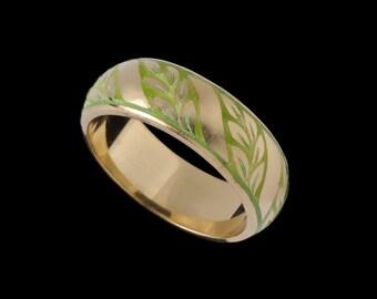 Laurel Leaf Ring Band with Stripe 2505XGXP