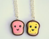 Kawaii Ham and Cheese Polymer Clay Best Friend Necklaces Friendship Charms Miniature Food Jewelry