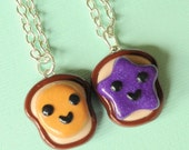 Kawaii Best Friend Peanut Butter and Jelly Bread Toast Necklaces Friendship Miniature Food Jewelry