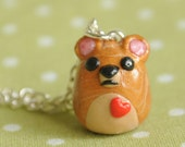 Kawaii Animal Honey Bear Polymer Clay Miniature Necklace Jewelry