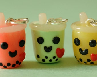 Bubble Tea Boba Tea Drink Polymer Clay Food Jewelry Necklace