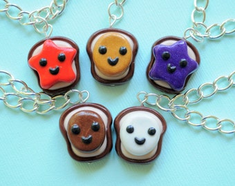 5 Best Friend Peanut Butter and Jelly Best Friend Bracelets, Miniature Food Jewelry, Kawaii BFF Jewelry
