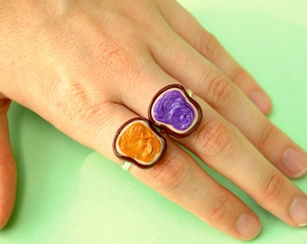 Peanut Butter and Jelly Best Friend Rings Polymer Clay Miniatures