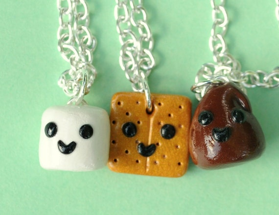 3 Best Friend Necklaces Smores Miniature Food Jewelry