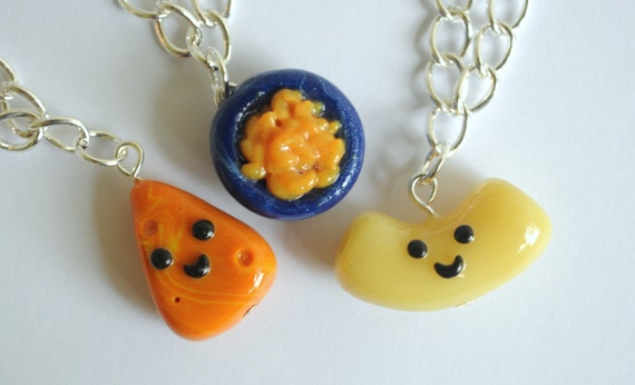 3 Best Friend Bracelets Macaroni and Cheese Charms, BFF Jewelry, BFF Charm, Foodie, Novelty Gift