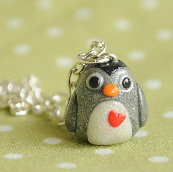 Baby Grey Penguin Jewelry Polymer Clay Necklace