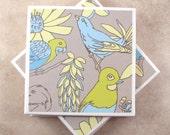 Ceramic Coasters - Tropical Birds - Set of 4