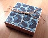 Ceramic Coasters - Blue Deco - Set of 4