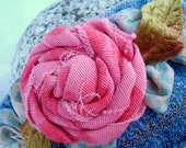 Pink Frayed Rose Denim Cuff Bracelet Vintage Button and Ribbon Country Shabby Blue Green