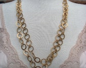 Vintage Necklace Lisner Gold Tone Round Link Chain Long Mint With Tags