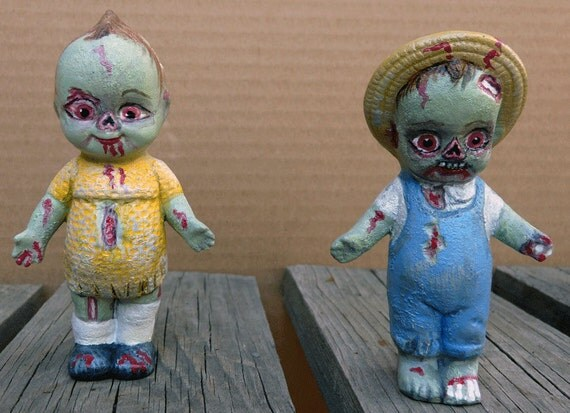 Zombie Kewpie Doll Customized Chalkware Statues Carnival Doll Girl Boy Hand Carved Painted Pair