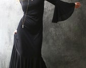 Vintage Long Cool Woman In A Black Dress Witchy Mermaid Fishtail Goddess Dress