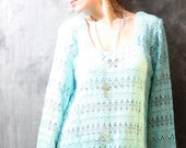 Vintage 1980s Dress //  Aqua Scallop Lace,  Ethereal Hippie Goddess