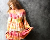 Vintage 1970s Sunset Sherbet Dress . Tie Dye Hippie, Crochet Lace, Bell Sleeves, Ruffle Hem