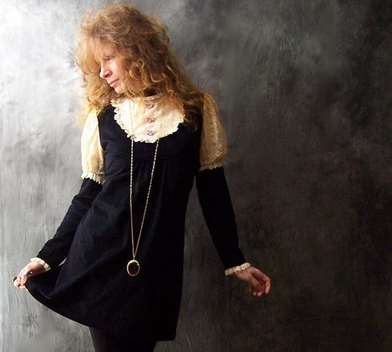 Vintage 60s 70s  Victorian Goth Lolita Baby Doll Dress with Lace Bib and Juliet Sleeves