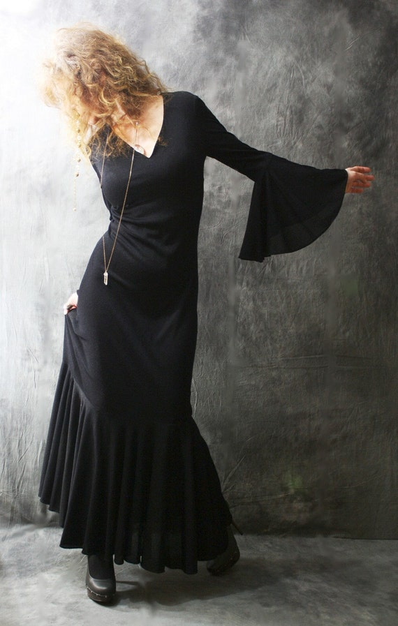 Vintage Long Cool Woman In A Black Dress Witchy Mermaid
