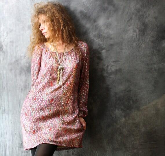 Vintage 1960s Dress Metallic Hippie India Paisley Gypsy Peasant Dress