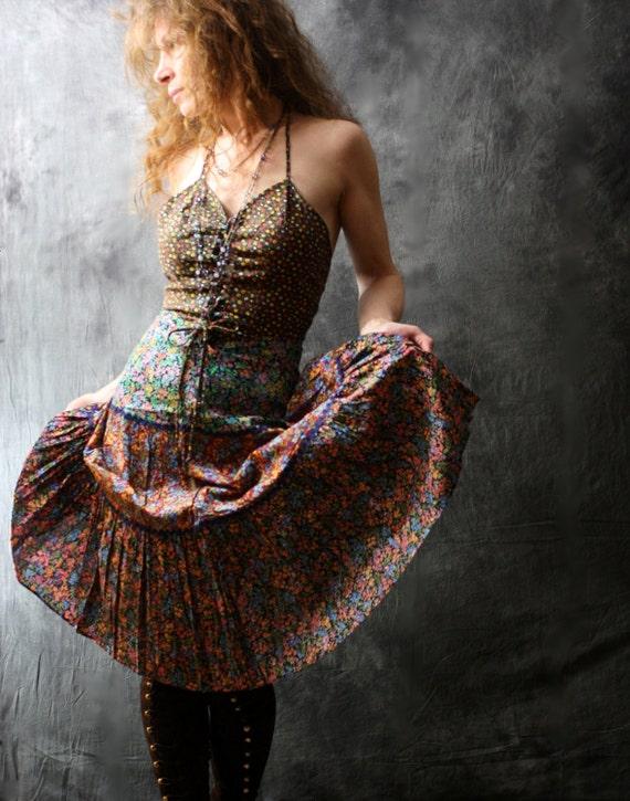 Vintage 1970s Sun Dress Corset Bodice, Calico Cotton Tiered Skirt, Rick Rack Trim, Gypsy Hippie Peasant SALE 20% off Coupon Code SUNFLOWER