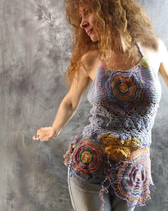 Hippie Butterfly Summer Crochet Lace Dress Halter Top Vintage Doily Lace up Back Reconstructed Upcycled OOAK Festival Wear