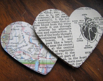 Hand Punched Hearts From Vintage Maps and Dictionaries