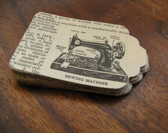 Vintage Dictionary Hand Punched Tags