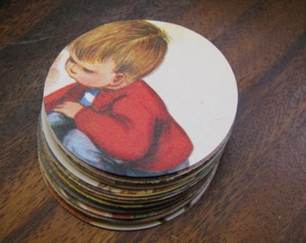 Vintage Hand Punched Children's Book Illustrations 2 Inch Circles