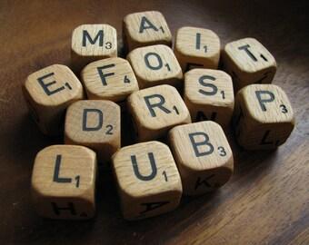 Vintage Scrabble Wooden Crossword Letter Dice Set of 10