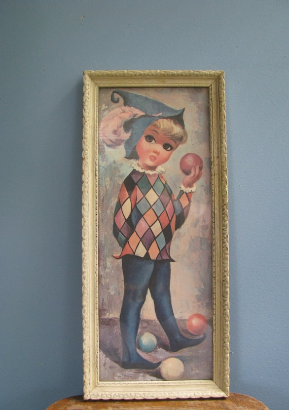 Vintage 1960s Goji Harlequin Juggler Girl Litho Print. Framed with Glass