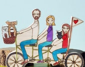 Custom Family Bike- Two adults, One child, Three Pets, with flag
