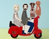 Custom Wedding Cake Topper Couple on Vespa  with Two Pets