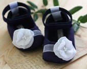 Maggie baby shoes/booties in navy and white