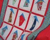 HAPPY HOUSES,  40 X 46 handmade quilt