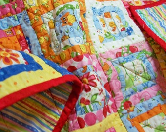 MODERN BABY QUILT, handmade 35 inch square scrappy quilt
