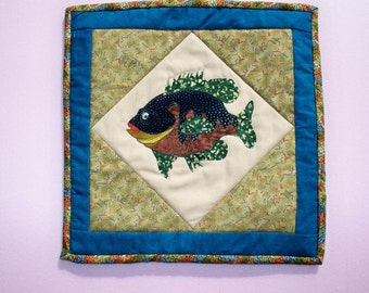Sale - SPECKLED PANFISH, 11inch square Fiber Art Fish Quilt