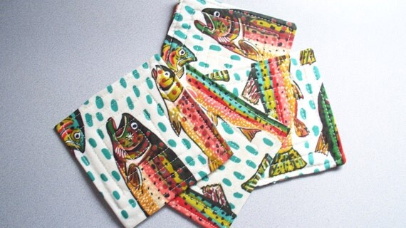 TROUT COASTERS, 4 inch quilted fabric
