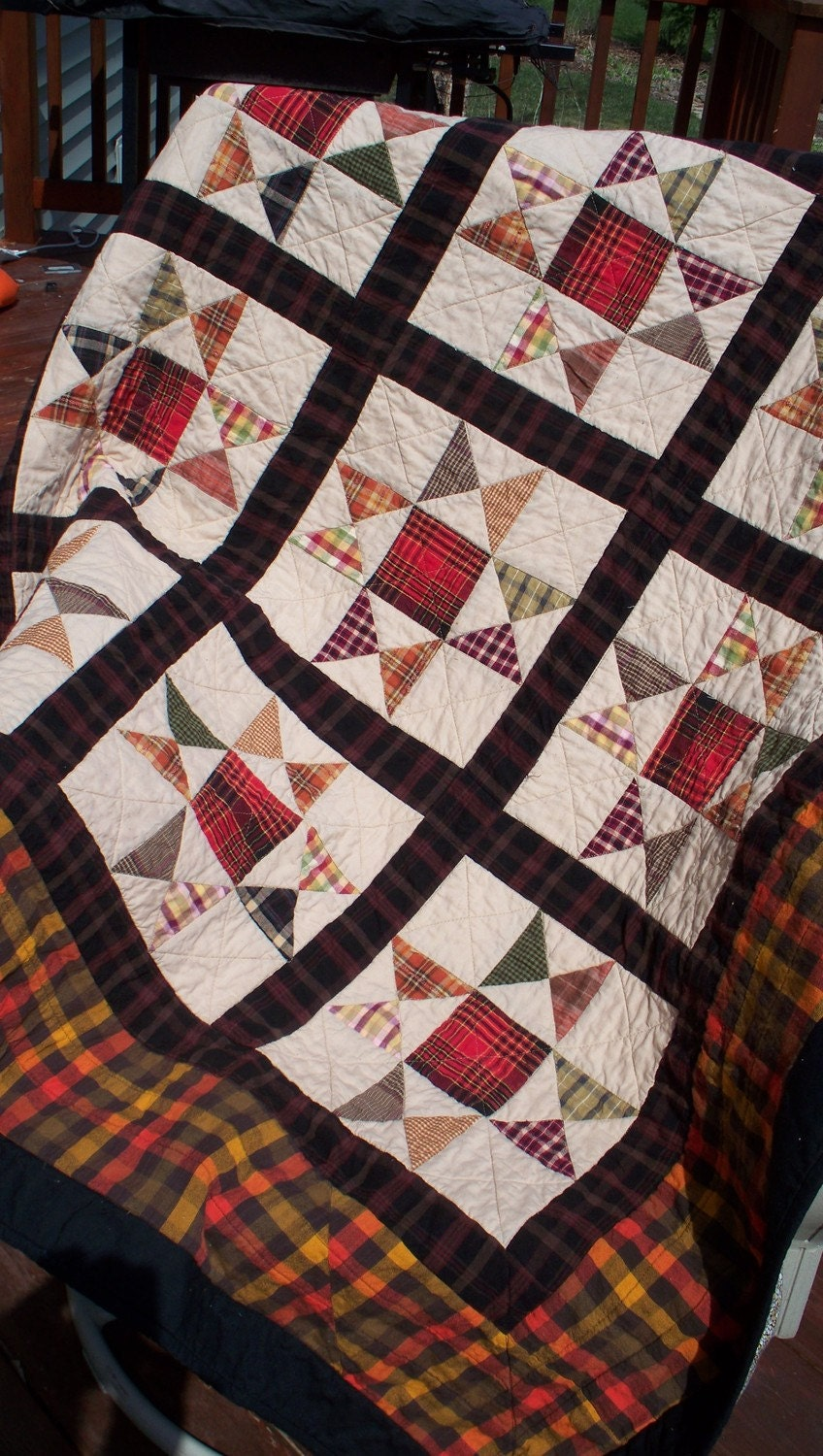 EVENING STAR 52 In Plaid Cabin Quilt