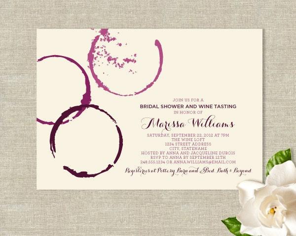 Wedding Theme Invitations: Wine Glass Stains Theme Bridal Shower Invitations Modern