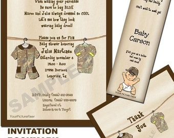 Camo Clothesline Baby Shower Invitation