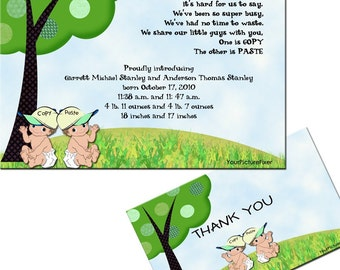 Twins Copy and Paste Shower Invitation or Birth Announcement